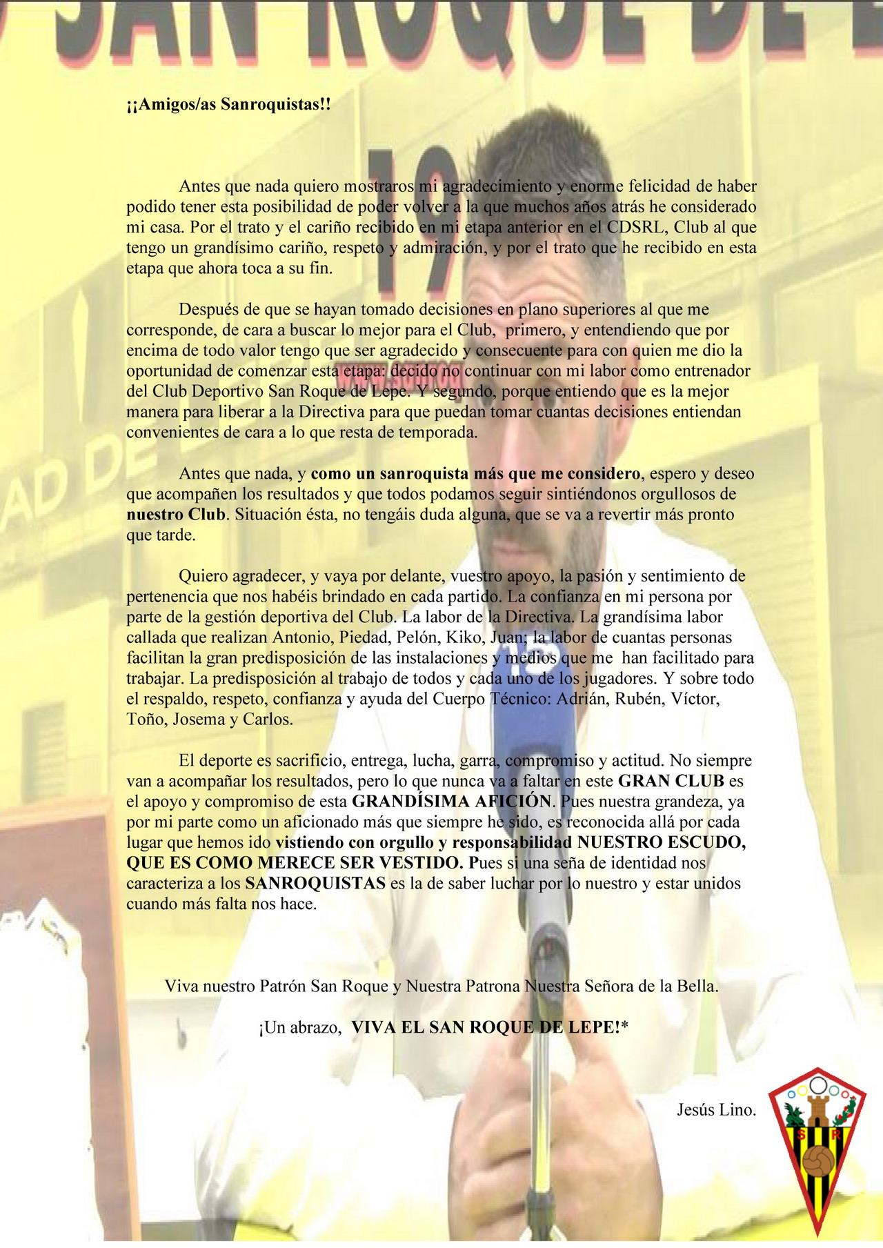 Jesús Lino deja de ser entrenador del San Roque de Lepe