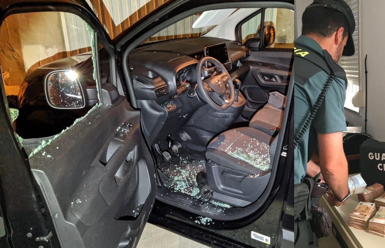 La Guardia Civil detiene a un vecino de Isla Cristina por numerosos robos con fuerza en el interior de vehículos e interviene 100.000€ en el interior de un vehículo en Punta Umbría