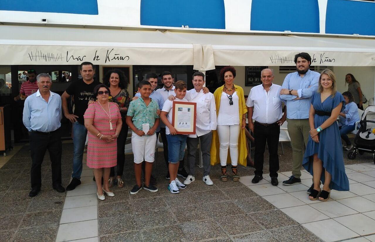 Primer premio de caligrafía en hostelería 2019 para Mar de Kñas de La Antilla