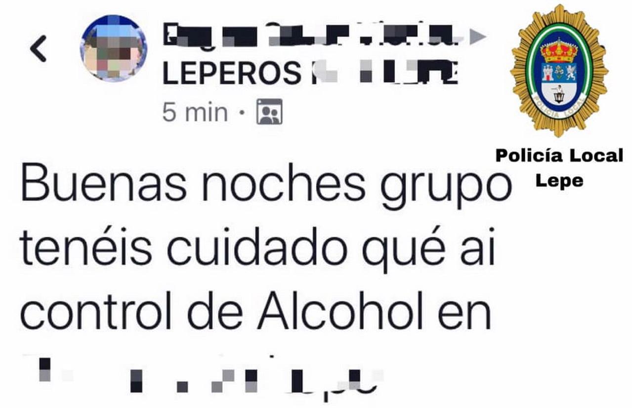 Denunciado un ciudadano en Lepe por alertar de un control de alcoholemia