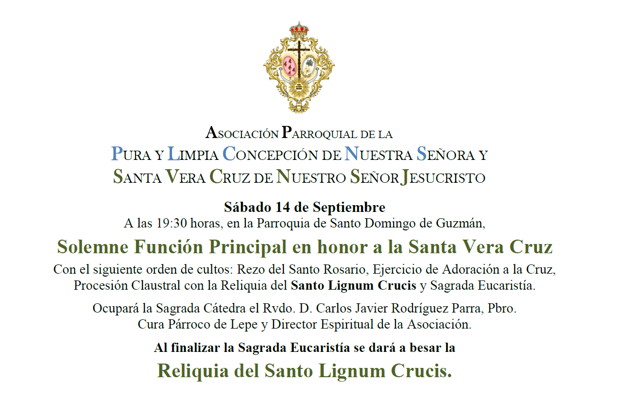 Solemne Función Principal en honor a la Santa Vera Cruz en Lepe