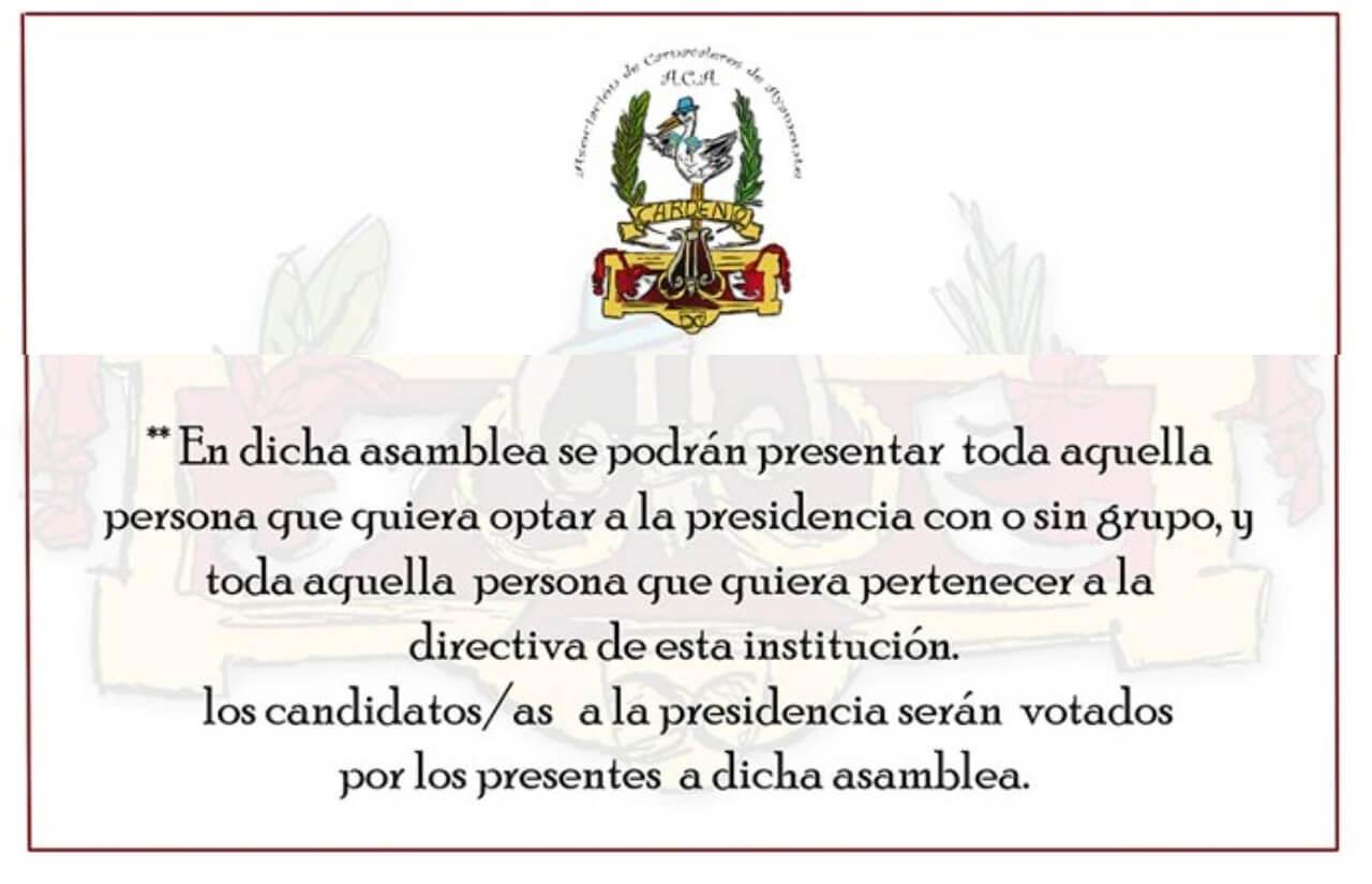La Asociación de Carnavaleros de Ayamonte elegirá su nueva junta directiva el próximo 3 de octubre