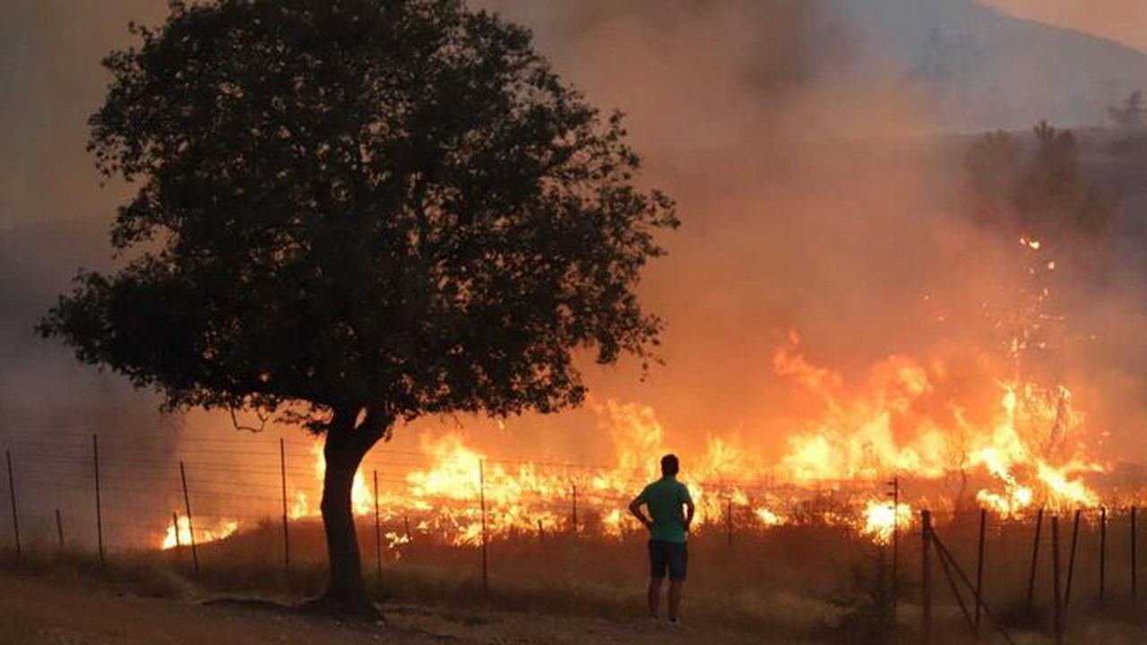 Continua activo el incendio en Almonaster la Real