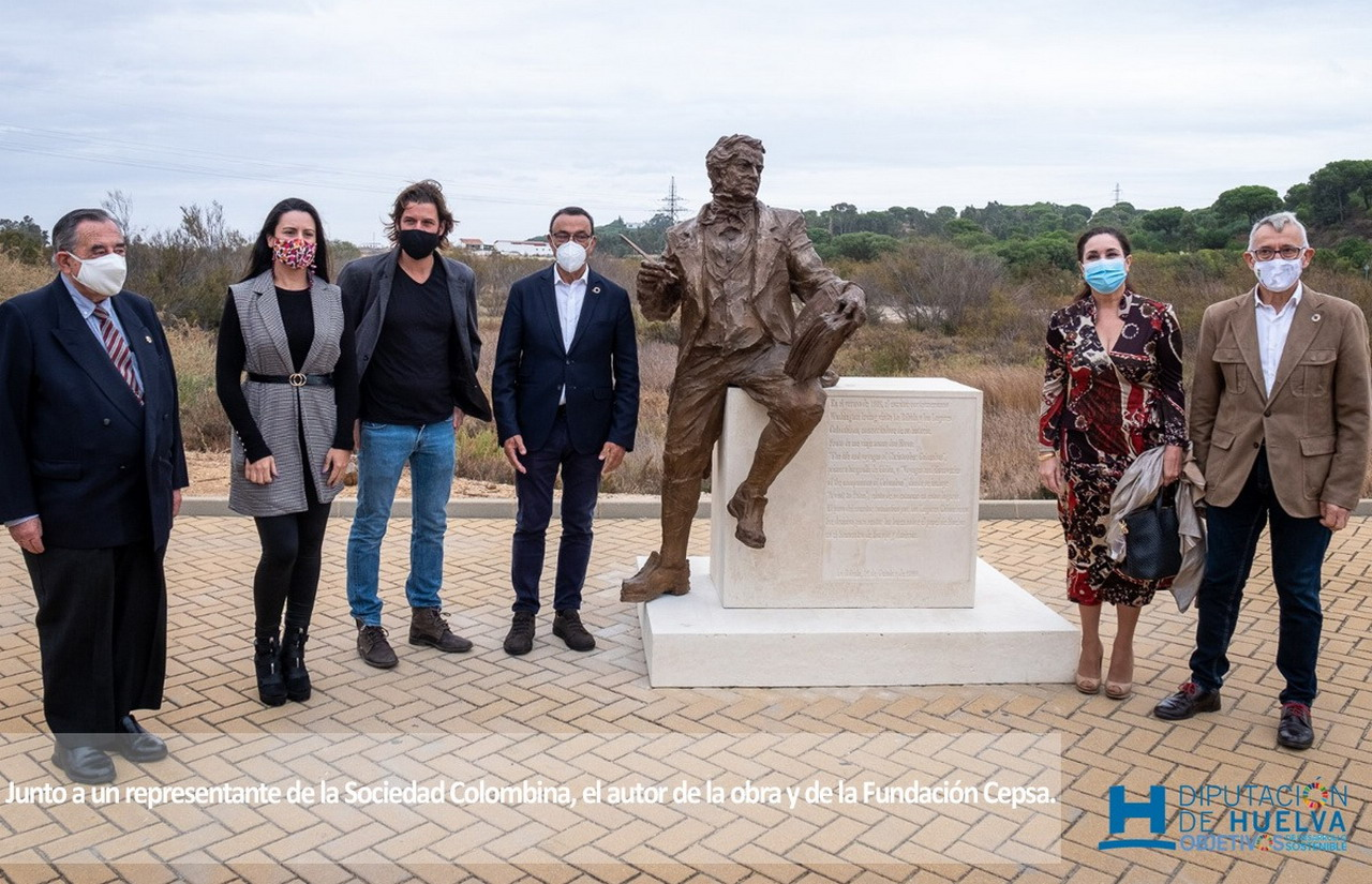 Una escultura de Washington Irving homenajea en La Rábida su contribución al conocimiento de los lugares colombinos