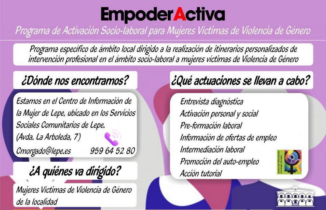 El Centro de Información a la Mujer de Lepe presenta en la programación del 25N el programa de activación socio-laboral EmpoderActiva para mujeres víctimas de violencia de género