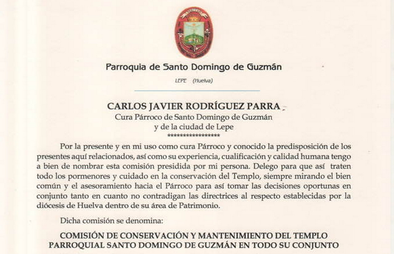 Comisión de Conservación y Mantenimiento del Templo Parroquial Santo Domingo de Guzmán en todo su conjunto