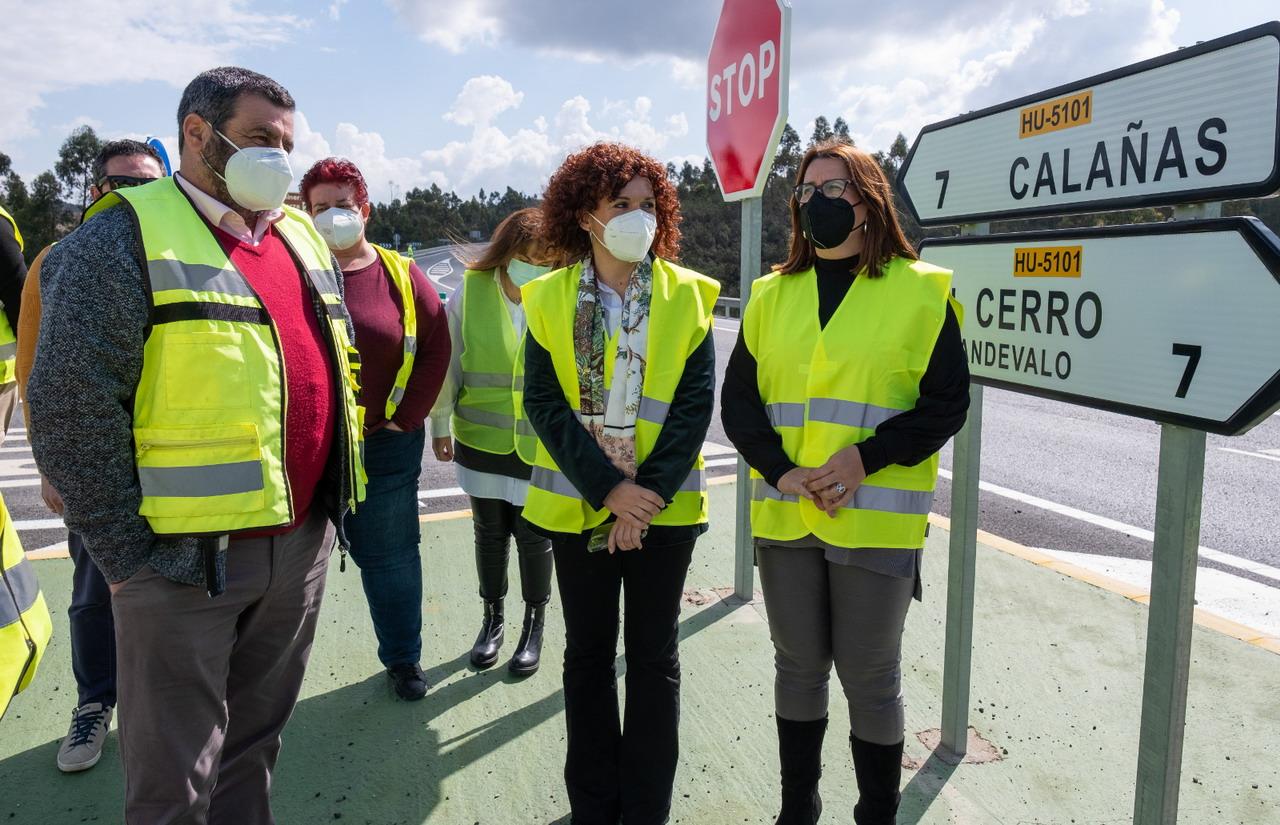 María Eugenia Limón visita en el Andévalo diversas actuaciones de mejora en carreteras del eje minero