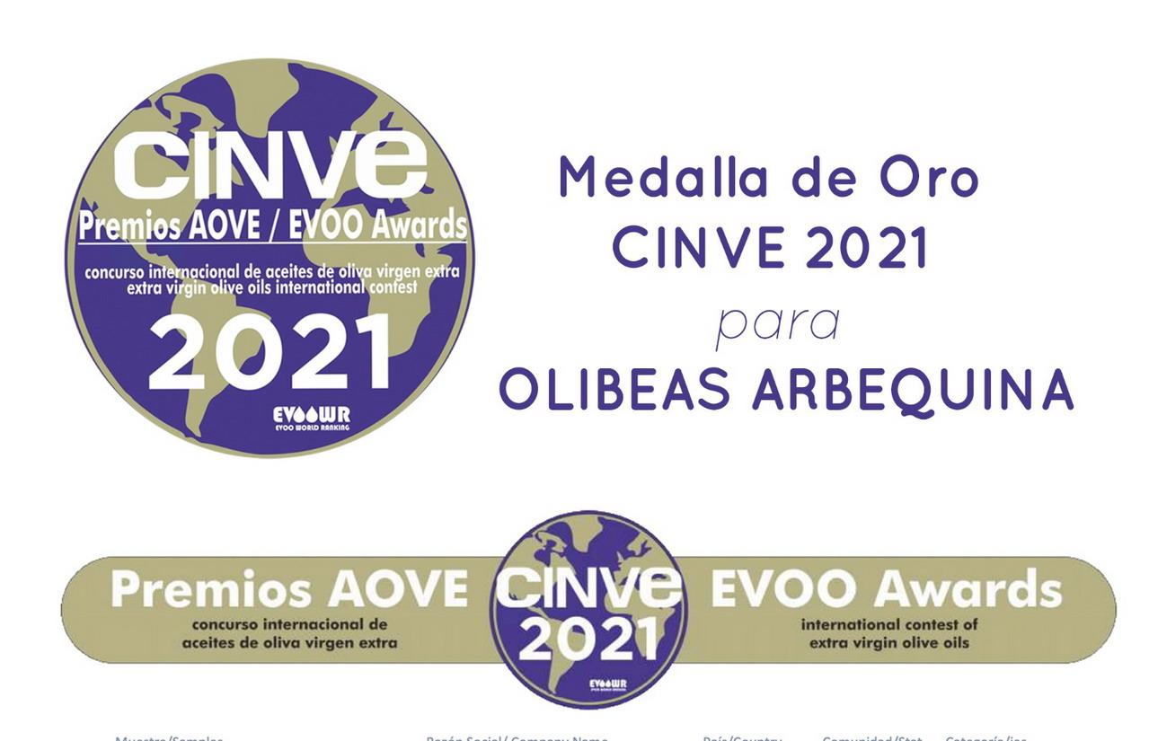 Olibeas Medalla de Oro a Variedad Arbequina en el Concurso Internacional CINVE (2021)